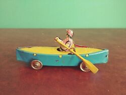 Scarce 1920s Gely Georg Levy Tin Penny Toy Mechanical Scull Rowing Boat Tinplate