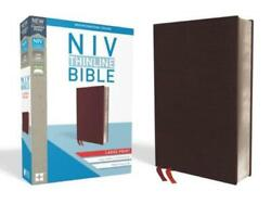 Niv, Thinline Bible, Large Print, Bonded Leather, Burgundy, Indexed, Red Le...