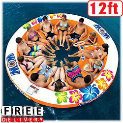 Inflatable Island Large Giant Water Float Lounge 12 Person Boat Lake Ocean Party