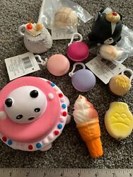 Squishy Lot Of 11 Items Stress Toys Panda Birthday Cake, Macaroons, Pastry And Mor