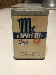 Vintage Mccormick Whole Mustard Seed Yellow Or White Bee Brand Tin Full