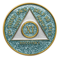 11 Year Aa Coin Aqua Glitter Sobriety Chip Alcoholics Anonymous Sober Medallion