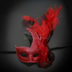 Couples Masquerade Masks Feather Masquerade Mask Red Red