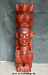 25 Antique Old China Hongshan Culture Red Crystal Sun God Helios Birds Statue