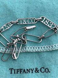 And Co 18k White Gold 1837 Hexagon Oval Link Chain Bracelet Rare