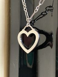 And Co 750 18k White Gold Oval Round Link Heart Pendant Necklace