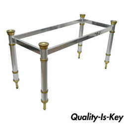 Chrome And Brass Maison Jansen Hollywood Regency Console Dining Desk Table Base