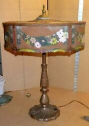Antique Reverse Painted Table Lamp Vtg Table Lamp Lg Polychrome Bent Glass Shade