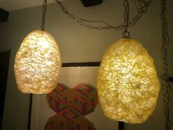 Pair Of Vintage Egg Yellow And White Hanging Swag Spaghetti Lamps All Original