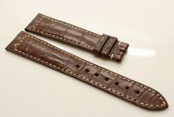 New Curved 19 X 16 Mm Brown Jaeger Lecoultre Alligator Leather Band White Stitch