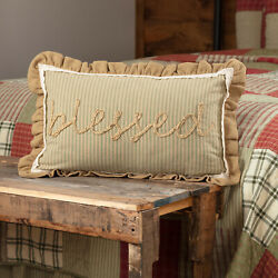 Vhc Brands Farmhouse 14x22 Blessed Pillow Green Appliqued Rope Bedroom Decor
