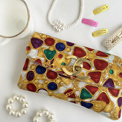 Vintage CHANEL Cotton Bijoux Jewelry Design Clutch Bag Multi