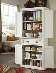 Storage Cabinet Pantry Kitchen Hutch Drawer Distressed White Home Shelves Wood