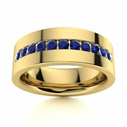 6 Mm Mens Natural Blue Sapphire Half Wedding Band In 14k Yellow Gold Solid Ring