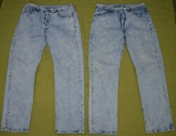 Vintage Levi's Jeans 501 Button Fly Acid Wash Tag 36x32 Usa Made Lot Of 2 Rare