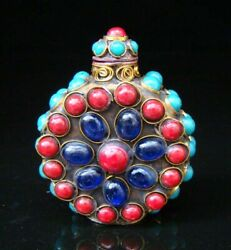 Handmade Brass And Ruby And Turquoise And Lapis Lazuli Inlaid Snuff Bottles