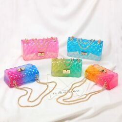 Clear Colorful Transparent jelly Bag Gradient Candy Color Crossbody woman Bags $25.78