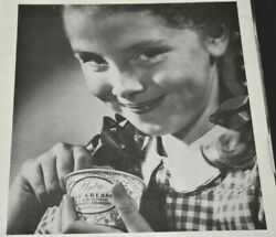 Dixie Cup Ice Cream Yummy Girl Eating Smiling Full Page 1947 Vintage Print Ad