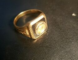 10k Solid Yellow Gold National Rifle Association Nra Signet Ring Size 10