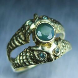 Natural Russian Colour Change Alexandrites 925 Silver/ 9ct 14k 18k Gold Owl Ring