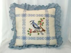 Vintage Embroidered Cross Stitch Ruffled Throw Pillow . Bird . Spring . Blue Jay
