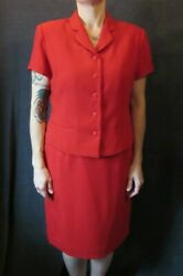 Nwot Anna Carole Red Short Sleeve Lined Skirt Suit Classy Career Church 14