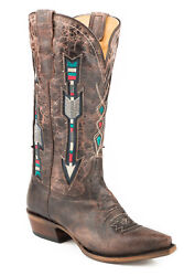 Roper Wonder Womens Brown Leather Arrows Snip Cowboy Boots