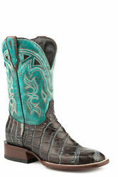 Stetson Womens Brown/turquoise Alligator Madrid Cowboy Boots