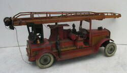 Antique Tin Toy Fire Truck Gunthermann Germany Big Size And Waterpump