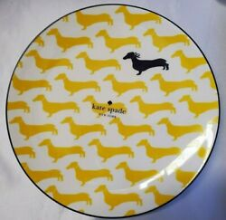 New Kate Spade Wickford Dachshund Yellow Dog Set Of 4 Accent Plates