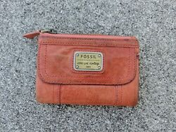 FOSSIL EMORY MULTIFUNCTION In Papaya Leather TriFold Wallet $19.95
