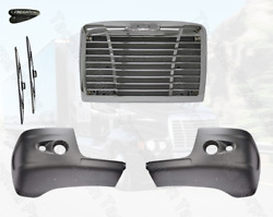 Freightliner Century Bumper Corner With Two Holes And Chrome Grille W/ Bug Scree