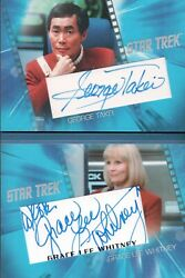 Star Trek Inflexions Takei / Whitney Dual Autograph Booklet Card Acb2
