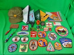 Vintage Boy Scout Lot Insignia Patches Hat Neckerchief Sliders Buckles 34 Pieces