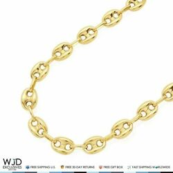 10k Yellow Gold 8mm Fancy Puffed Anchor Mariner Chain Necklace 32 Lobster Clasp