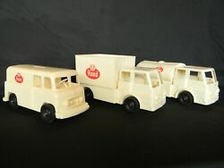 Antique Plastic H.p. Hood And Sons Boston Divco Delivery Trucks Push Toy Set Of 3