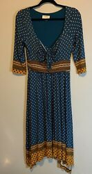 Womenand039s Maeve Boho Teal Patterned Midi Dress Size Small S
