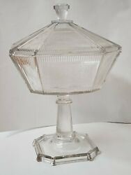 Vintage Candy Dish Art Deco Extra Large Clear 12 1/2 Tall Antique Glass