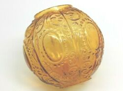 Vintage Replacement Globe For Miniature Oil Lamp Amber Orange Scroll Design