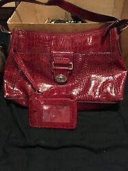 Red Snakeskin Like Design Kim Rogers Purse With Matching Holder