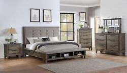 New Classic Queen Cagney Vintage Gray 6 Piece Upholstered Panel Bedroom Set