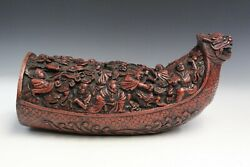Chinese Antique Carved Bamboo Dragon Boat With 18 Arhats, Awaiting Buddha Return