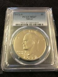 1972 S Eisenhower Dollar Pcgs Ms-67 - Uncirculated - Silver Ike - Certified Slab