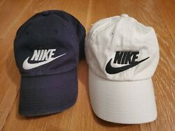 TWO NIKE Heritage Swoosh Logo Spell out Adjustable Baseball Hat Black White