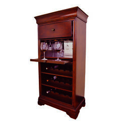 Chestnut Bar Cabinet With Wine Glass Rack And Bottle Storage