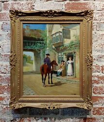 19th Century Man On A Horse Outside Village Pub- Oil Painting By Arthur Redgate
