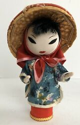 Oriental Asian 5.5 Inch Peg Doll With Straw Hat