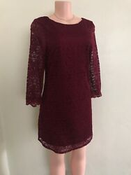 Speeckless wine red  long sleeves midi lace dress Size 11 (M) 100%polyester