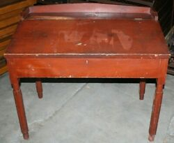 Red Antique Primitive Slant Top Desk - Painted Pine - Early American
