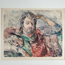 Signed Colour Print Impressionist Portrait Bearded Man Possibly By Hugh Mckenzie